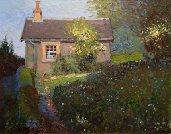 """American Legacy Fine Arts presents """"Sir Walter Scott's Caretaker's Cottage in Abbotsford, Scotland"""" a painting by Chuck Kovacic."""