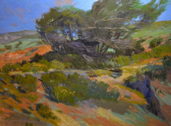 """American Legacy Fine Arts presents """"Prevailing Winds; Leo Carrillo Park, Malibu"""" a painting by Chuck Kovacic."""