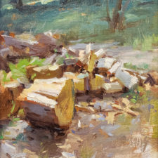 """American Legacy Fine Arts presents """"Springdell Wood Pile"""" a painting by David Dibble."""