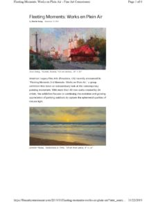 American Legacy Fine Arts featured in Fine Art Connoisseur online editorial, November 2019