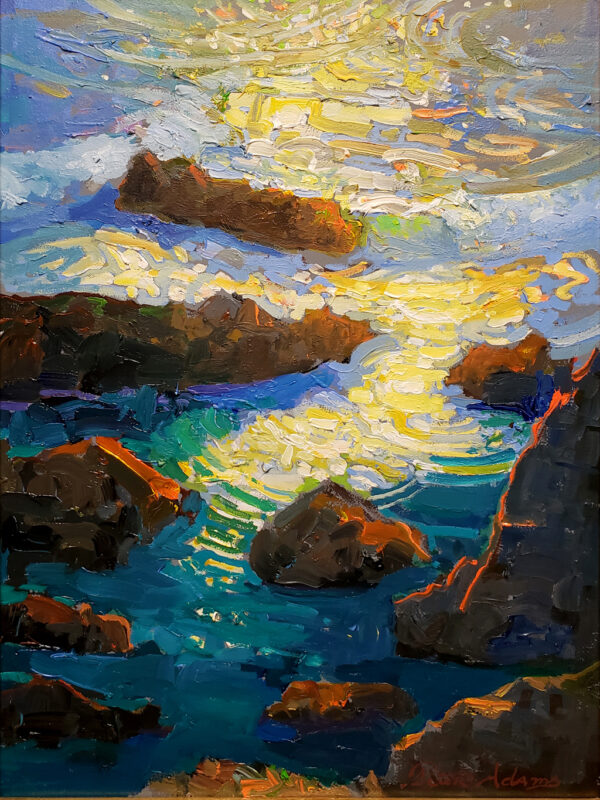 """American Legacy Fine Arts presents """"Brilliant Reflections of Rocky Point"""" a painting by Peter Adams."""