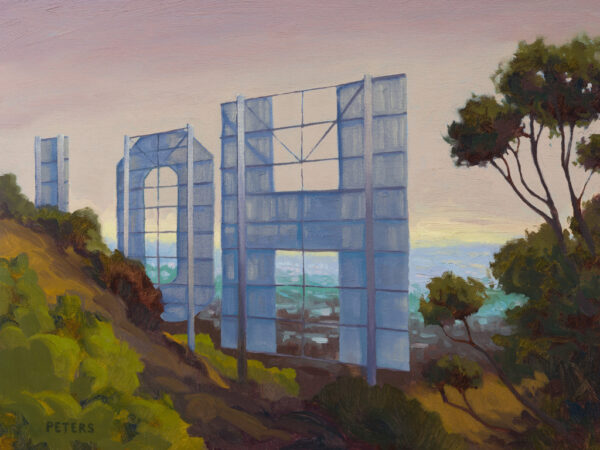 """American Legacy Fine Arts presents """"Hollywood Sign"""" a painting by Tony Peters."""
