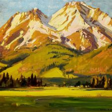"""American Legacy Fine Arts presents """"Morning Light, Mt. Shasta"""" a painting by Alfred Richard Mitchell."""