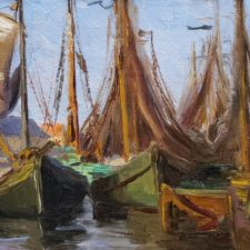 """American Legacy Fine Arts presents """"Drying Fishing Nets - Huizen, Holland"""" a painting by Anna Althea Hills."""