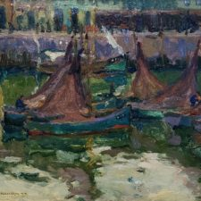 """American Legacy Fine Arts presents """"Idle Fisher Fleet"""" a painting by Armin Carl Hansen."""