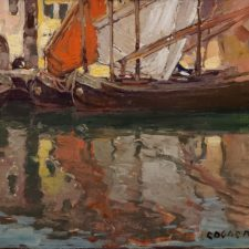 """American Legacy Fine Arts presents """"Untitled (Boats in Harbor)"""" a painting by Edgar Alwin Payne."""