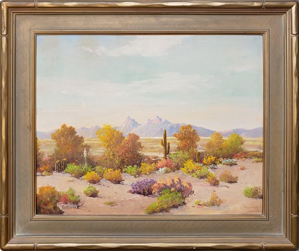 "American Legacy Fine Arts presents ""Untitled (Desert Scene, Palm Desert"" a painting by George Bickerstaff."