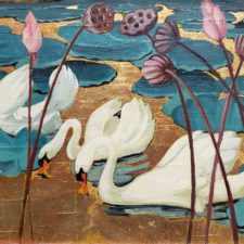 """American Legacy Fine Arts presents """"Untitled (Three Swans)"""" a painting by Jessie Hazel Arms Botke."""