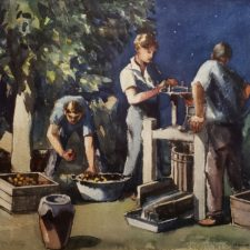 """American Legacy Fine Arts presents """"Untitled (Harvesting Fruit)"""" a painting by Julius Maxmilian Delbos."""