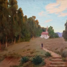 """American Legacy Fine Arts presents """"Pathway to the Church"""" a painting by Jean Mannheim."""