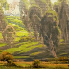 """American Legacy Fine Arts presents """"Arroyo Grove"""" a painting by San Hyde Harris."""