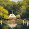 """American Legacy Fine Arts presents """"Kerbs Boathouse, Central Park"""" a painting by Brian Blood."""