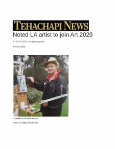 """American Legacy Fine Arts presents Peter Adams in Tehachapi News as """"Noted LA Artist to Join Art 2020"""" , February 2020."""