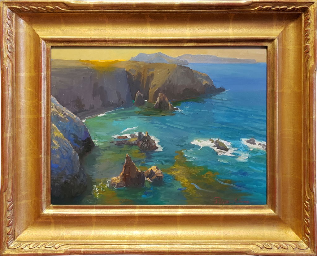 """American Legacy Fine Arts presents """"Afternoon Glow, Cathedral Cove, Anacapa Island"""" a painting by Peter Adams."""