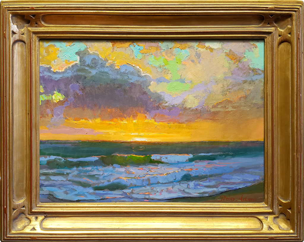 """American Legacy Fine Arts presents """"Breaking Skies over St. Malo Beach at Sunset"""" a painting by Peter Adams."""