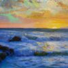 """American Legacy Fine Arts presents """"Churning Surf at Sunset, Golden Cove; Rancho Palos Verdes"""" a painting by Peter Adams."""
