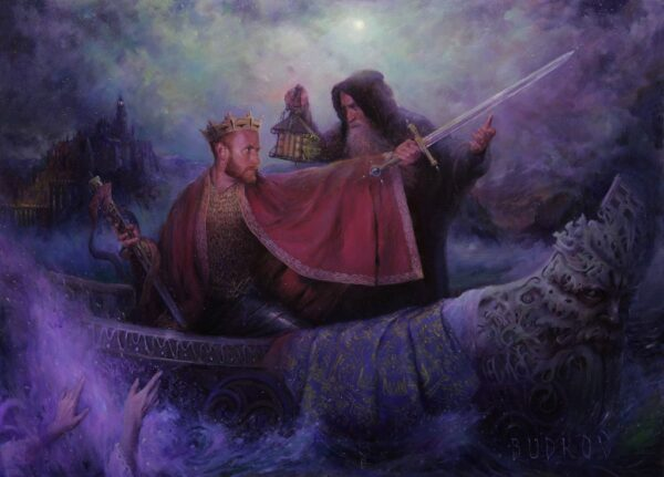 """American Legacy Fine Arts presents """" Ascension (Excalibur)"""" a painting by nikita Budkov."""