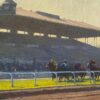 """American Legacy Fine Arts presents """"Heading for the Finish; Santa Anita"""" a painting by Michael Obermeyer."""