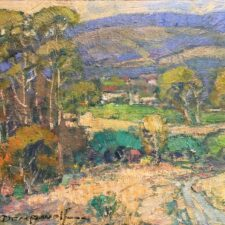 """American Legacy Fine Arts presents """"View of Cambria from Fiscallini Ranch Preserve"""" a painting by Karl Dempwolf."""