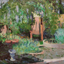 """American Legacy Fine Arts presents """"Wisteria Wandering; The Artist's Garden, North Hills, CA"""" a painting by Chuck Kovacic."""