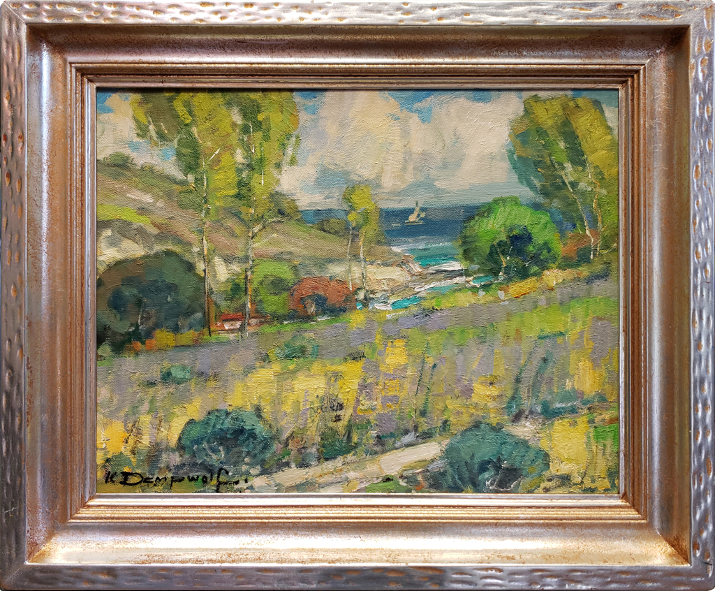 """American Legacy Fine Arts presents """"In the Distance; Abalone Cove, Palos Verdes"""" a painting by Karl Dempwolf"""