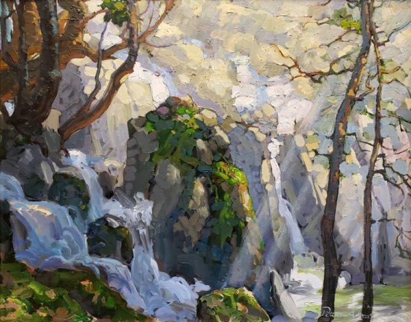 """American Legacy Fine Arts presents """"Lower Chilnualna Falls; Yosemite National Park"""" a painting by Peter Adams"""