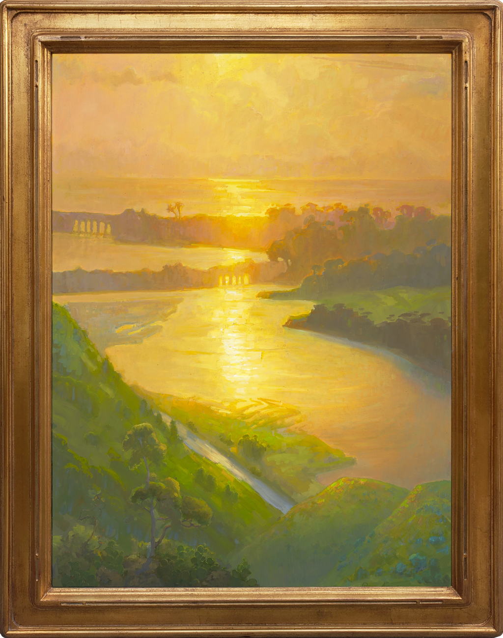 """American Legacy Fine Arts presents """"Peaceful Passage; Batiquitos Lagoon, Carlsbad, California"""" a painting by Peter Adams"""