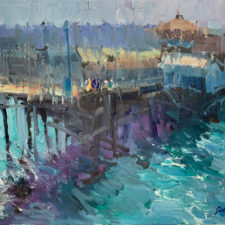 """American Legacy Fine Arts presents """"Fishing Harbor in the Morning; Redondo Beach"""" a painting by Jove Wang."""