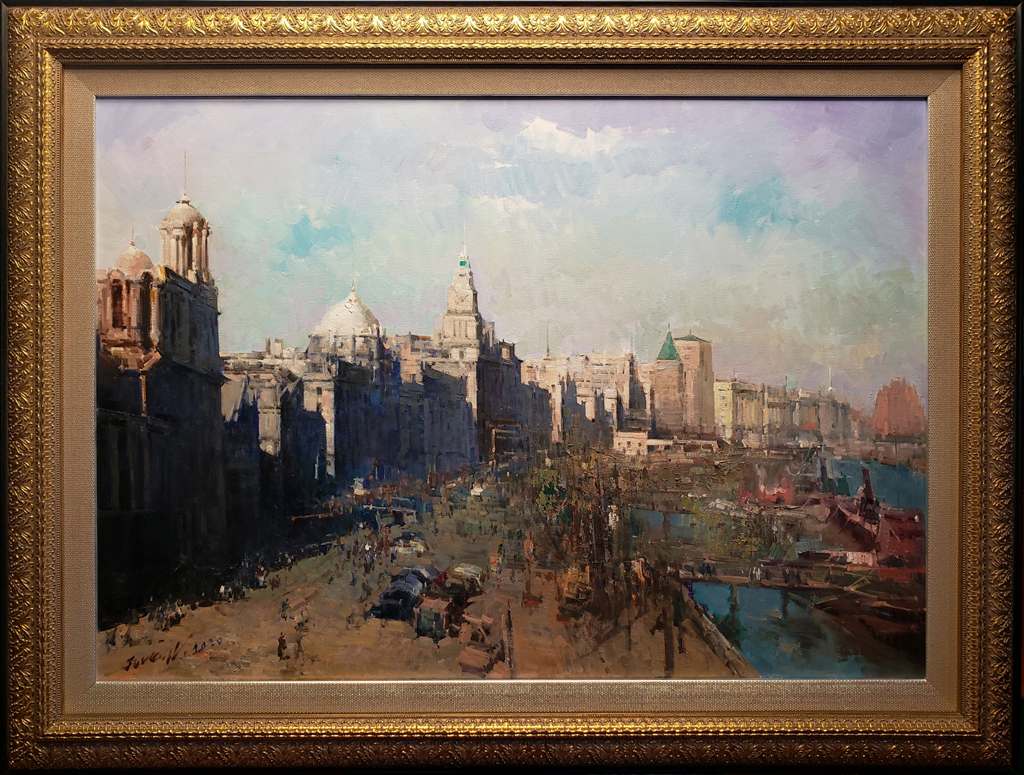 """American Legacy Fine Arts presents """"The Bund in Shanghai in 1927"""" a painting by Jove Wang."""