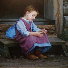 """American Legacy Fine Arts presents """"Cowgirl"""" a painting by Eric Guan."""
