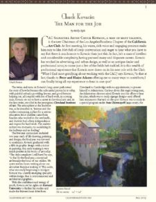 American Legacy Fine Arts presents Chuck Kovacic in CAC Newsletter, Fall 2019 Issue.