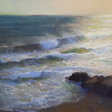 """American Legacy Fine Arts presents """"Glare and Wind; Leo Carrillo State Beach, Malibu"""" a painting by Peter Adams"""