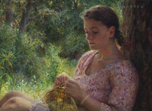 """American Legacy Fine Arts presents """"The Ways of Yore; Knitting in Zvenigorod, Russia"""" a painting by Nikita Budkov"""