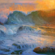 "American Legacy Fine Arts presents ""Treacherous Malibu Shorebreak"" a painting by Peter Adams"