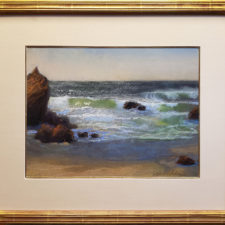 """American Legacy Fine Arts presents """"Wind and Waves at Low Tide; Leo Carrillo State Beach, Malibu"""" a painting by Peter Adams."""
