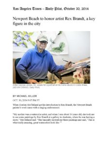 American Legacy Fine Arts presents Rex Brandt in the Los Angeles Times, October 30, 2014.