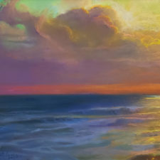 """American Legacy Fine Arts presents """"Reverie at Sunset; St. Malo, Oceanside"""" a painting by Peter Adams."""